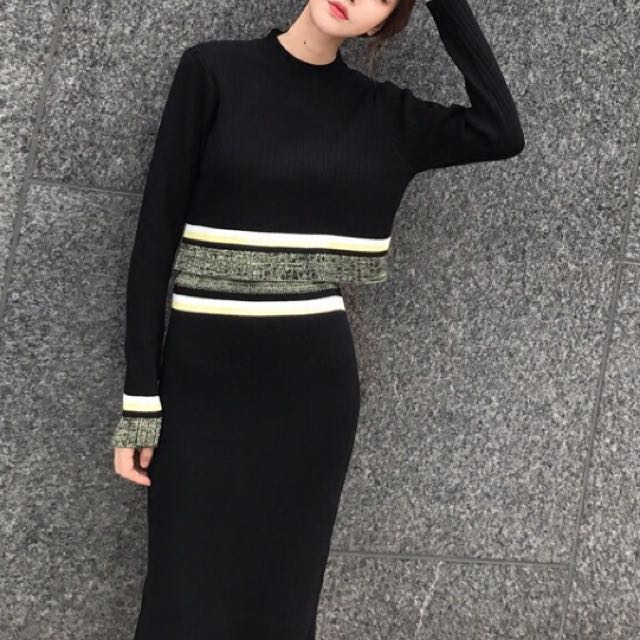 80bc2506ce More cols) 2 pc knitted contrast jumper and pencil skirt, Women's ...