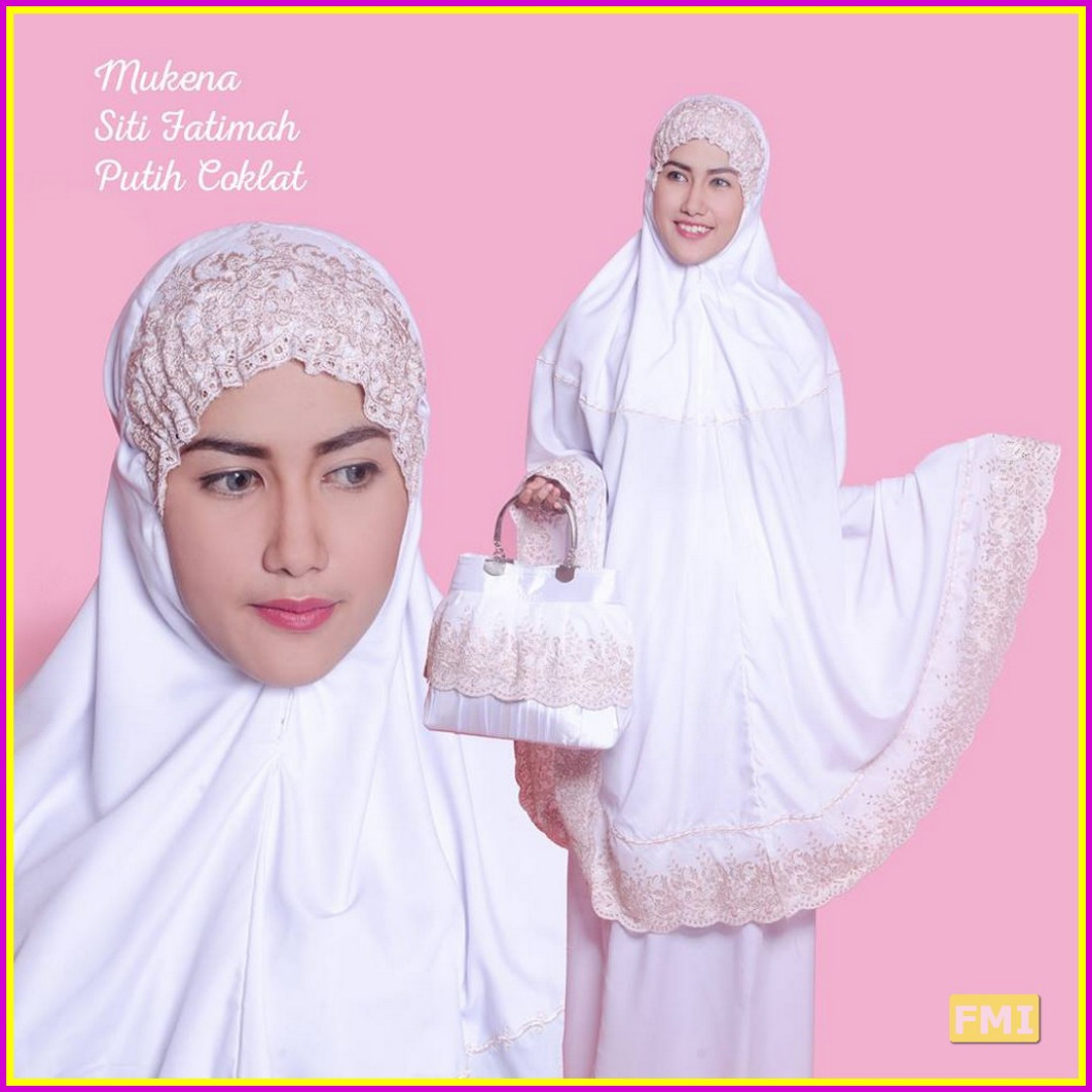 Mukena Dewasa Bordir Siti Fatimah Putih Coklat Olshop Fashion Bouquet Muslim Di Carousell