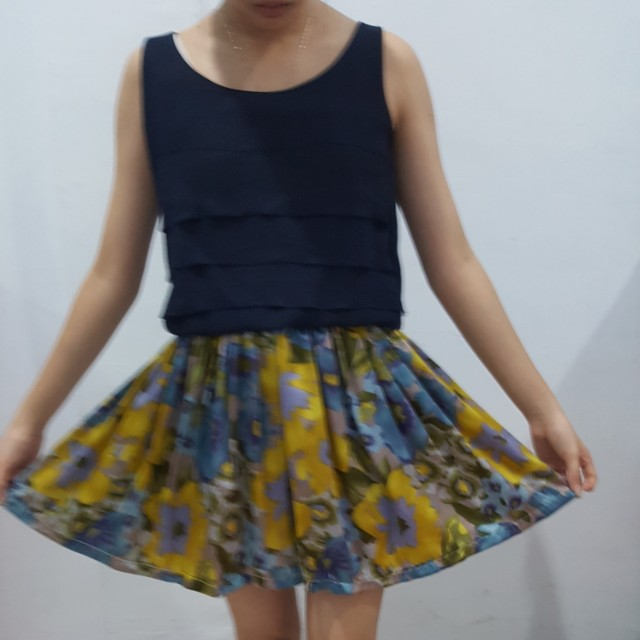 Korean navy blue satin dress