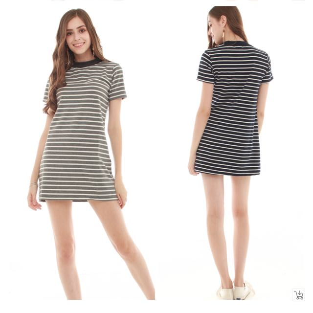 35ad94cae4bb NEW  ANTICLOCKWISE Striped Fitted Tee Dress in Navy
