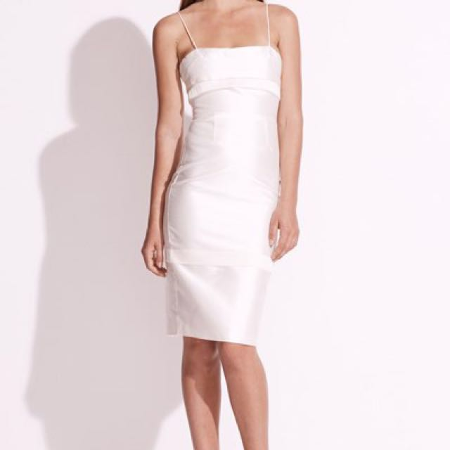 New Talulah White Silk Orical Midi Dress RRP $240