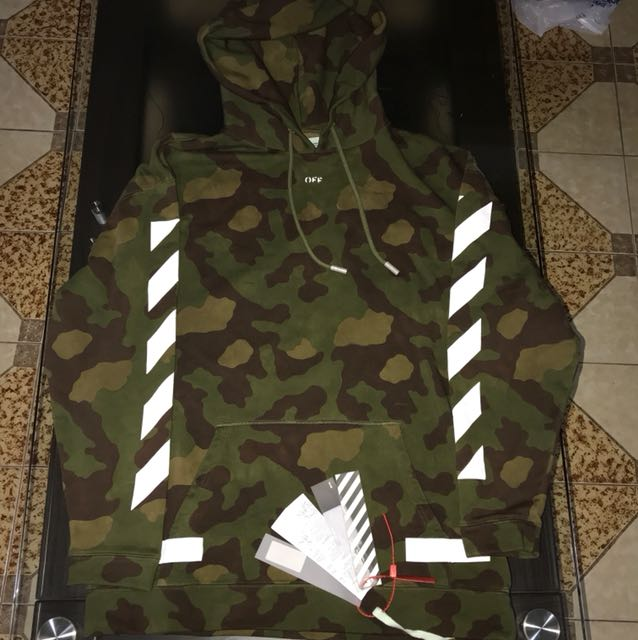 Off White Camo Hoodie Mens Fashion Clothes On Carousell