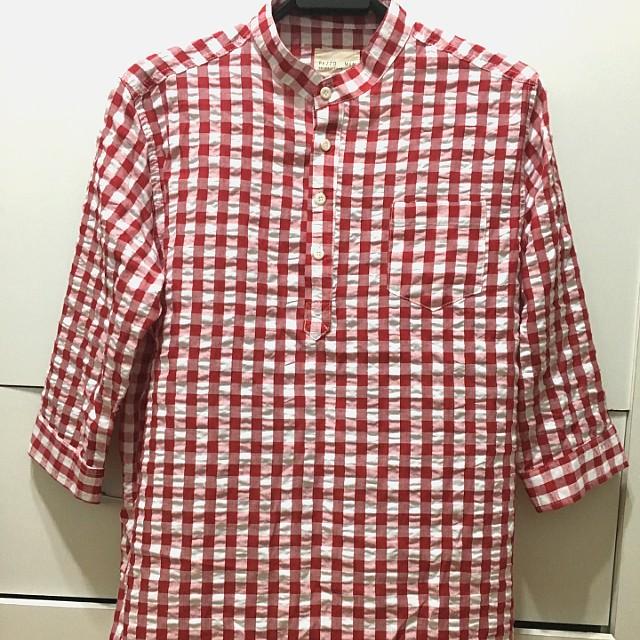 Pazzo men 亞麻 紅白格紋 七分袖 立領襯衫