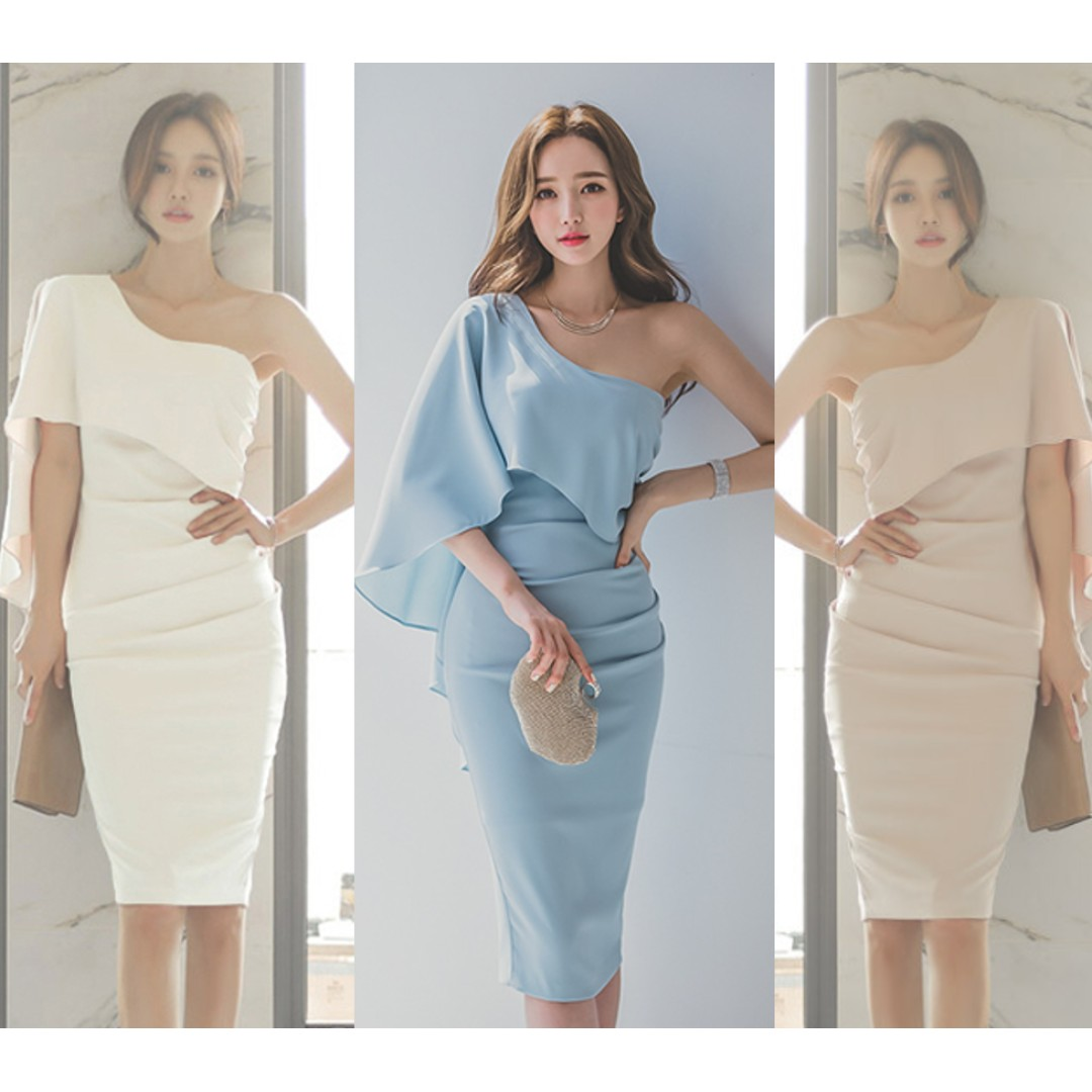 PO] Toga Evening Dress (Light Blue/Nude/White), Women\'s Fashion ...