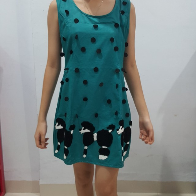 Korean green poodle dress