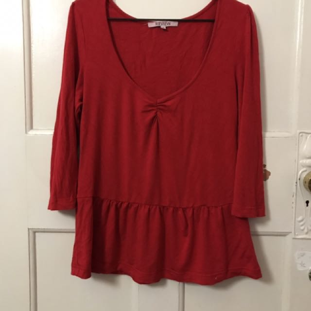 Red Review peplum top size 14