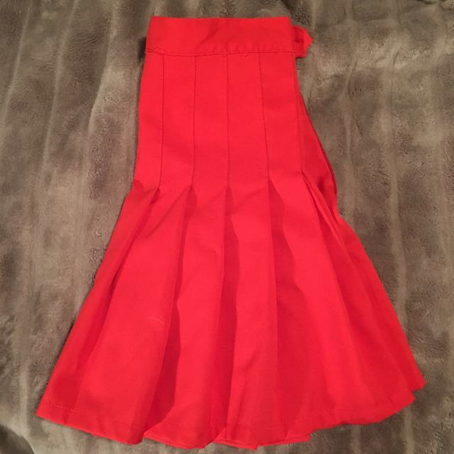 Red Tennis Pleated Skirt