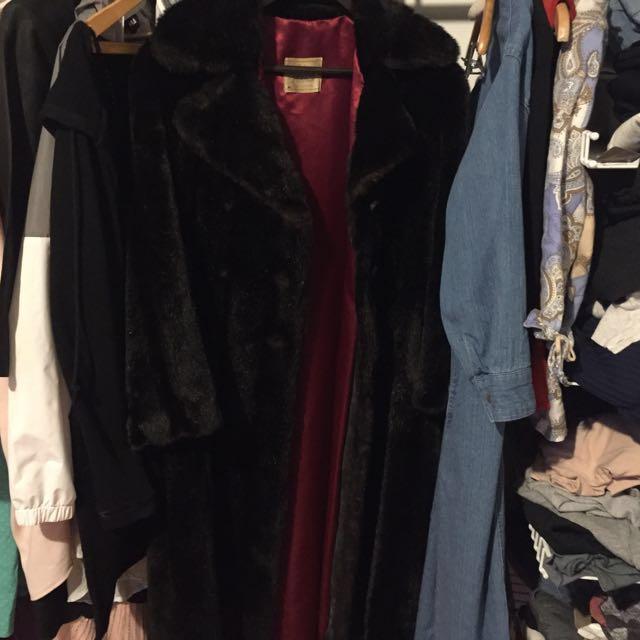 Saks Fifth Ave Floor Length Fur Coat