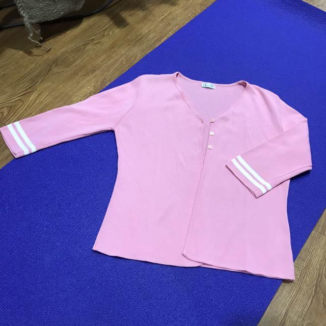 粉色七分袖S號M號罩衫
