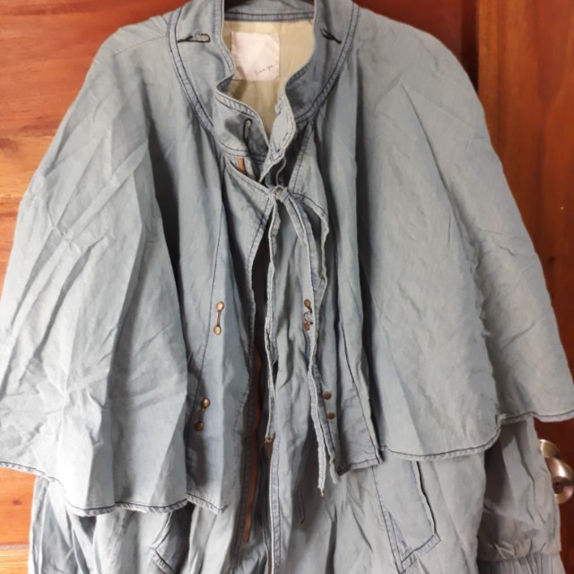 Soft maong jacket with cape accent