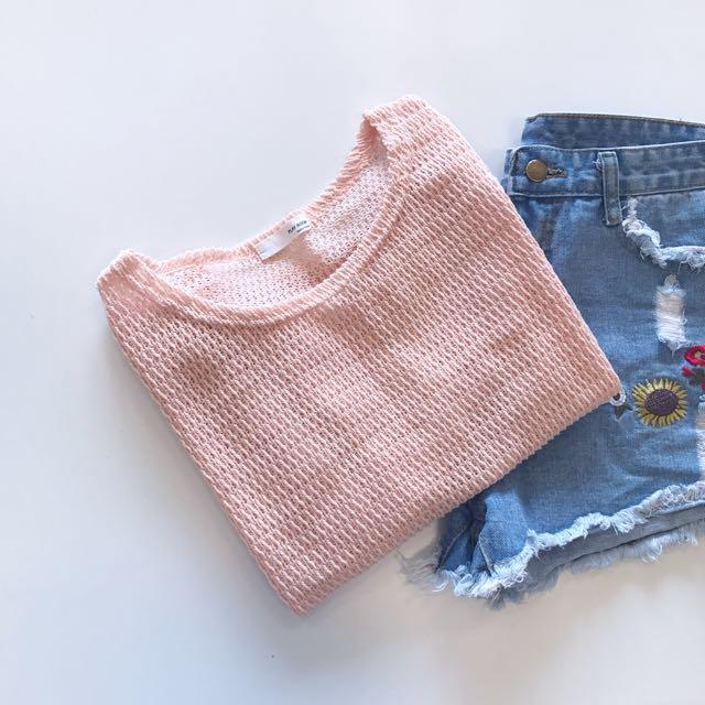 StarMIMI鏤空粗針織透視上衣