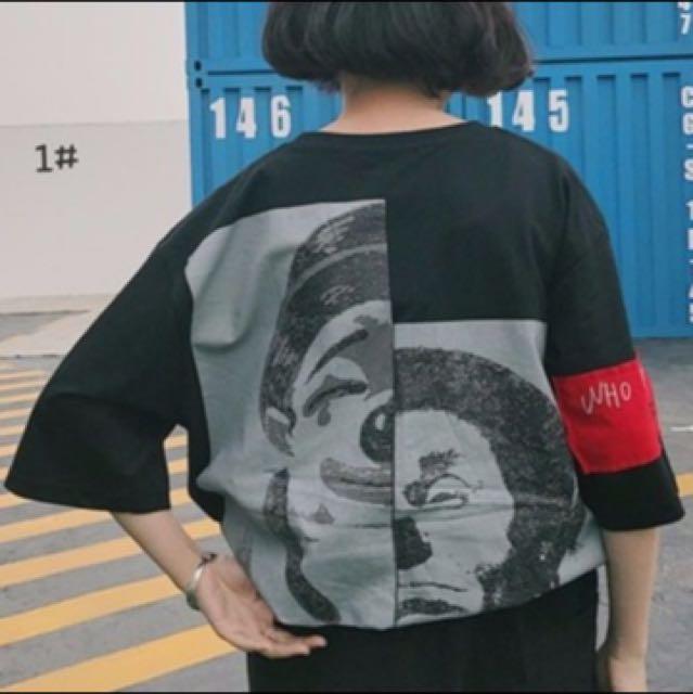 寬鬆短袖T恤-小丑