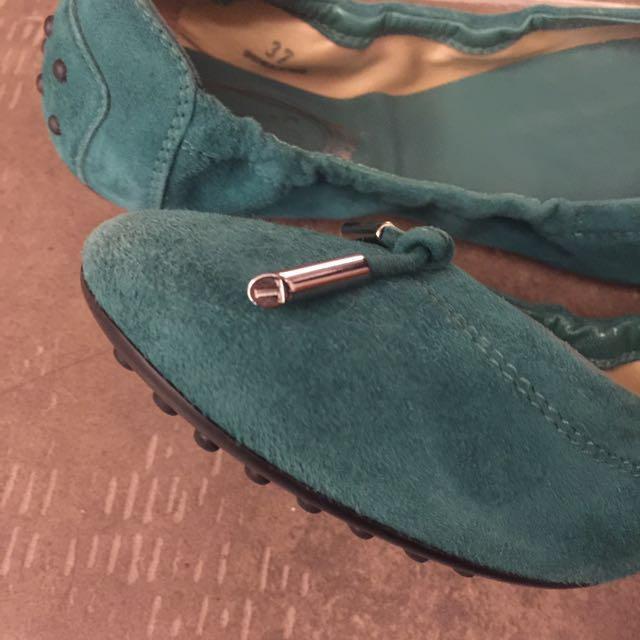 Todd 綠色麂皮豆豆鞋