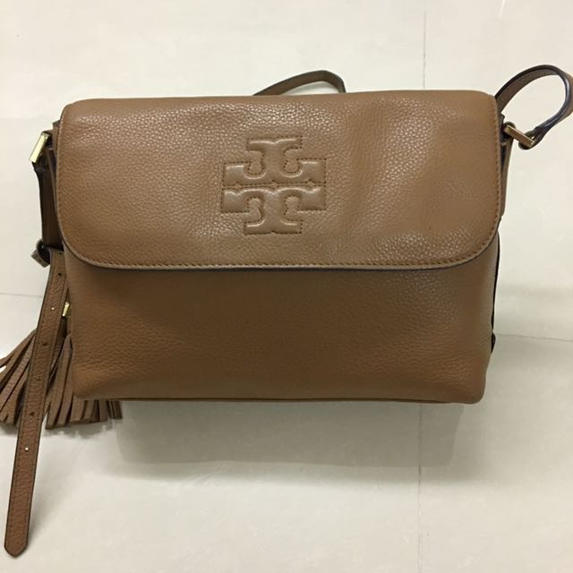 Tory Burch Taupe Leather Women s He s Messenger Bag - 💯 Authentic ... 0adb79a5fe