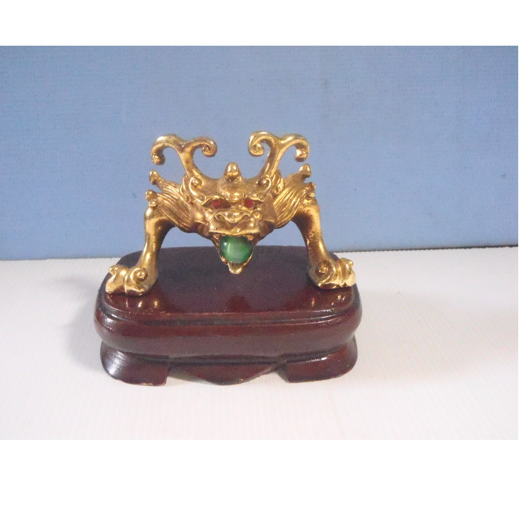 Vintage Rare Bronze Kylin Foo Dog On