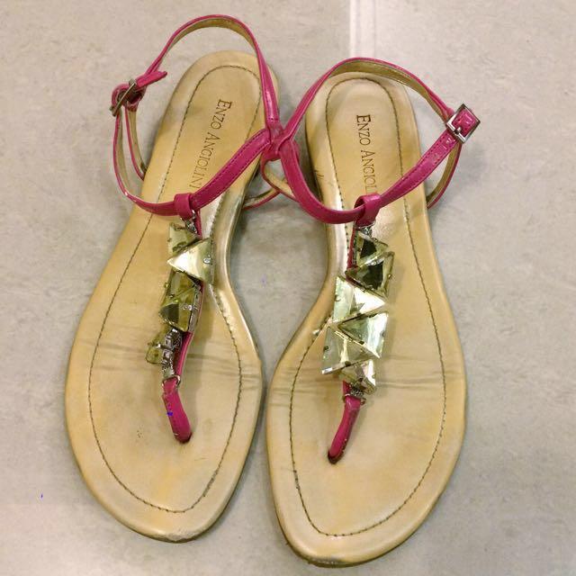 [專櫃購入][W8]夾腳 涼鞋 螢光 粉 寶石