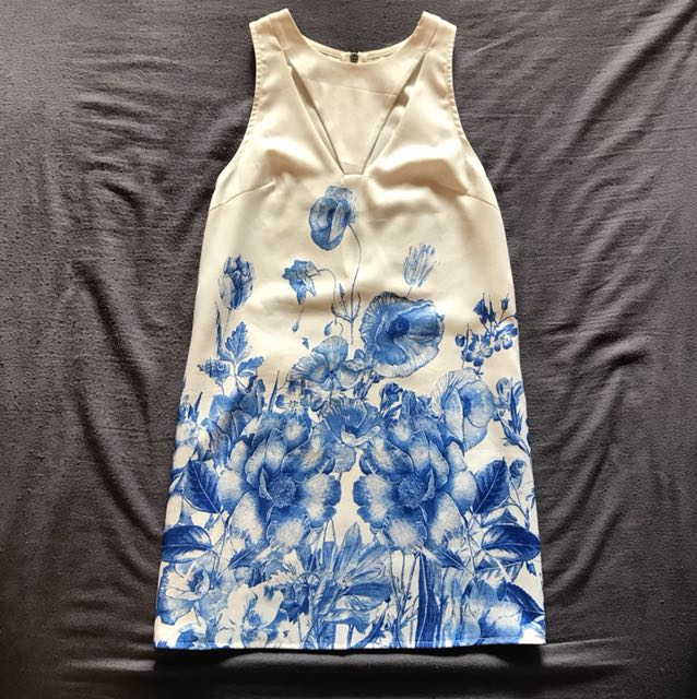 White dress with blue floral