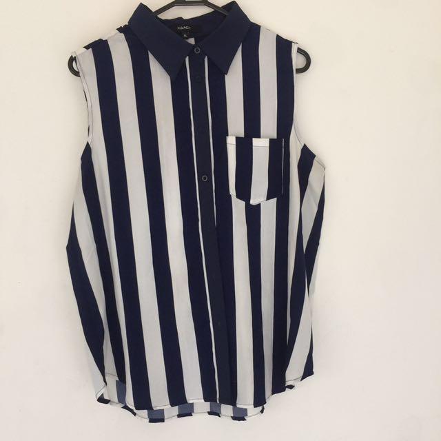 XAACT Striped Sleeveless Blouse