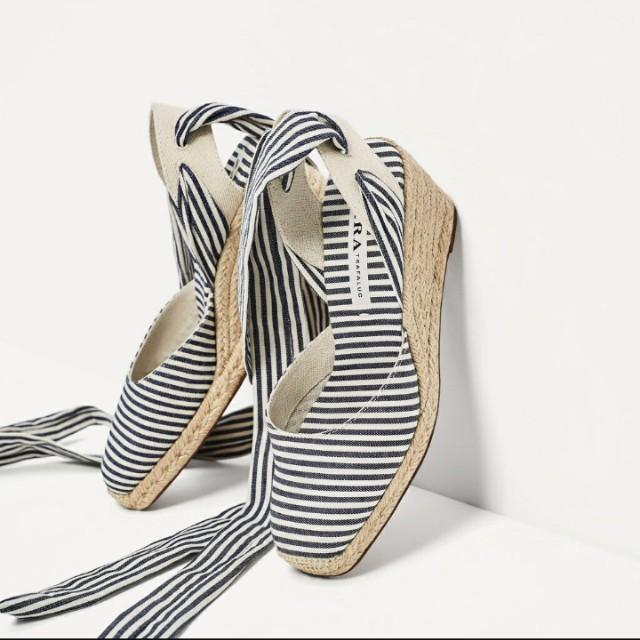 Zara高跟條紋綁帶鞋 #好物任你換