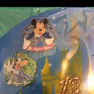 (2個)Disney pin 12週年限量襟章徽章