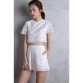 TTR Ivana Crochet Shorts in White XS