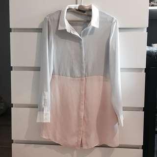 *REDUCED* Zara Colour Blocked Button Up Collard Dress Shirt
