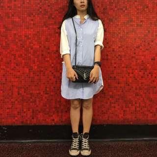 線條長版襯衫洋裝