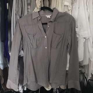 CLUB MONACO - grey button up blouse