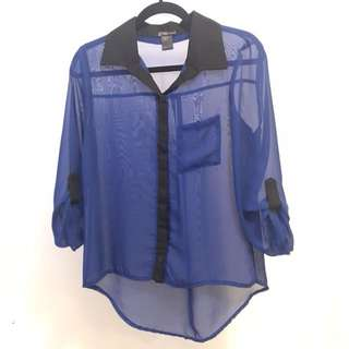 Royal Blue Mesh Button-up