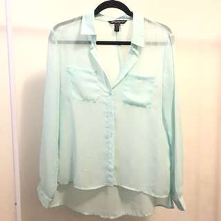 Pastel Green/Blue Mesh Button Up