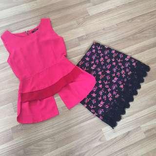 Set MDS peplum top + forever skirt