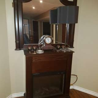 Fire place and mirror and clock