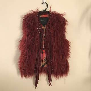 Psychedelic Shaggy Vest With Leather Fringe And Studs Detailing