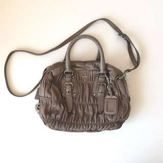 PRADA Nappa Gaufre Handbag In Juta