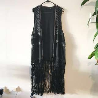 *RARE* Fringe Long Vest Duster With Stud And Lace Appliqué Detailing - H&M