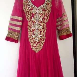 Hot Pink Floor Length Anarkali Suit