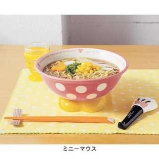 日本迪士尼正品代購 米奇 米妮 面碗卡通陶瓷碗+湯勺
