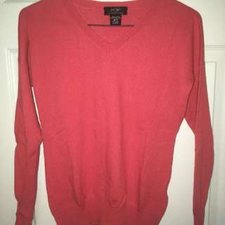 Lord and Taylor orange merino Wool vneck Sweater Size Xs