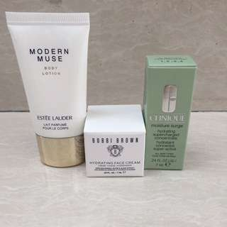 Estee Lauder Body Lotion Bobbi Brown Face Cream and Clinique Moisturizer