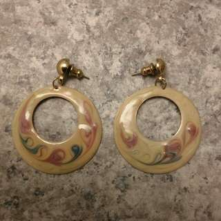 BNWT Vintage Statement Watermarble Swirl Circle Earrings