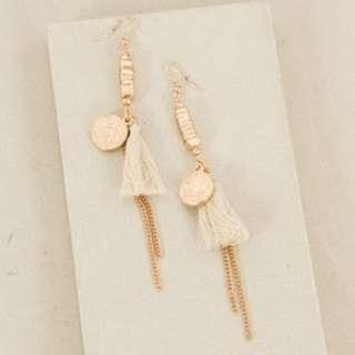 Coin & Tassel Chain Drop Earring  Cream/Rose