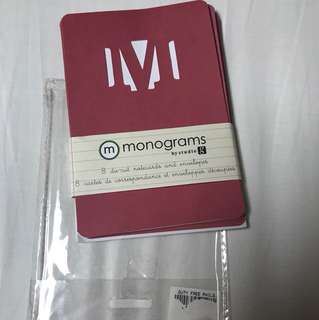 """Letter """"M"""" Monogrammed Note Card with envelope"""
