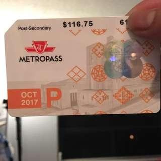 October Metropass Post Secondary