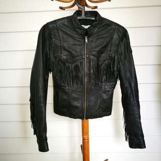 Wrangler leather tassel jacket south western