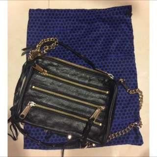Rebecca minkoff 二手 5 zip 正品 黑色金鍊斜背包 crossbody bag