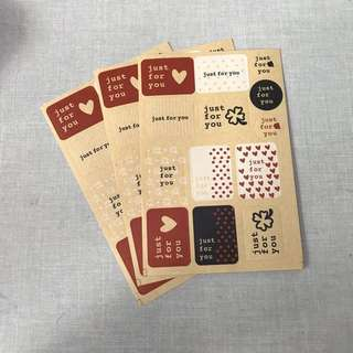 52 pcs Just for You Kraft stickers