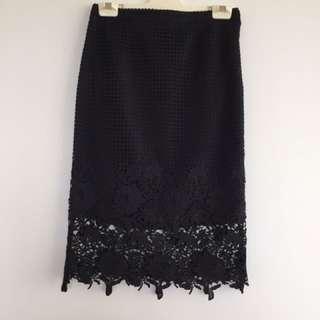 Marc Black Lace Midi Skirt Size 6