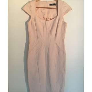 Cue Contrast Inset Panel Cap Sleeve Dress