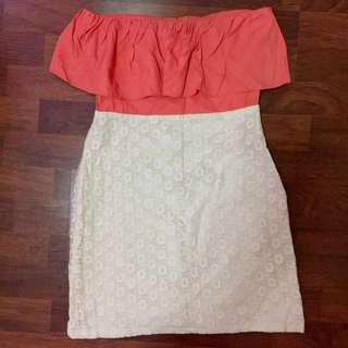 Pretty peach tube crochet dress