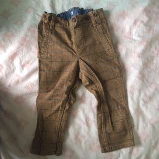 FREE POSTAGE H&M Stylish Brown Checkered Pants (fits up to 18 Mnths)